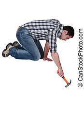Handyman with a hammer