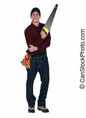 Handyman with a handsaw