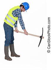 Handyman with a pickaxe.