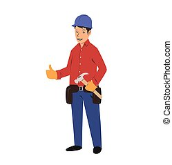 Handyman with a tool belt and a hammer. House renovation service. Flat vector illustration. Isolated on white background.