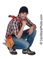 Handyman with a wrench