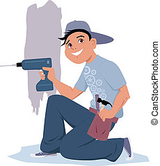 Smiling cartoon character kneeling, holding an electric wireless drill, vector illustration, no transparencies