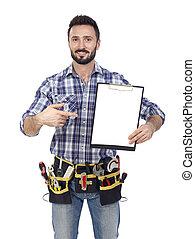 Handyman with clipboard
