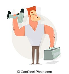 Handyman with drill in hand and tools. Cartoon character funny.  Animation style.
