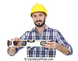 Handyman with level