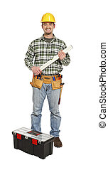 handyman with spirit level and tools isolated on white background