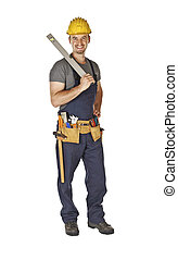 handyman with spirit level - standing young caucasian ...