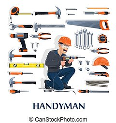 Handyman with work tools, construction industry