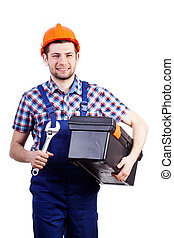 Handyman with wrench and toolbox