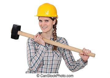handywoman, besitz, hammer