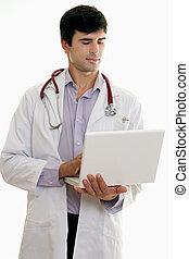 hane läkare, med, laptopdator