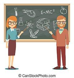 hane och kvinna, lärare, stående, framme av, tom, skola, blackboard, vektor, illustration