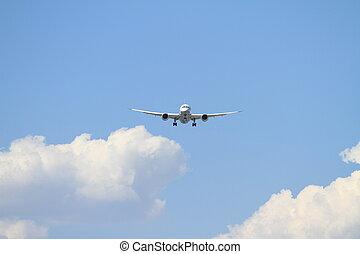 haneda, aeropuerto, avión, (b787), aterrizaje