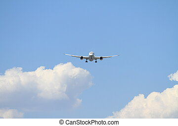 haneda, flughafen, motorflugzeug, (b787), landung