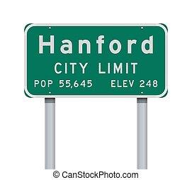 Hanford City Limit road sign