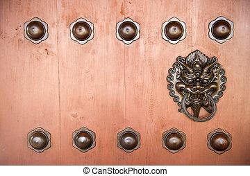 Hang Door Knocker Metal  in Nunnery temple, Hong Kong.
