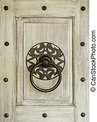 Hang door knocker metal on wooden