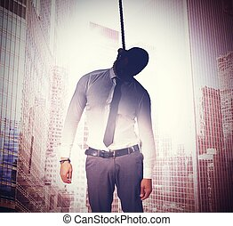 Hang for bankruptcy - Dead businessman hanged with...