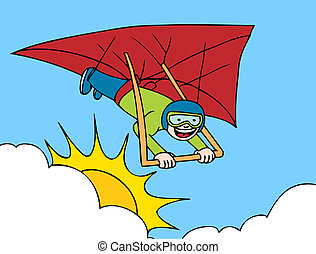 Hang Glider cartoon image of a man flying in the sky.