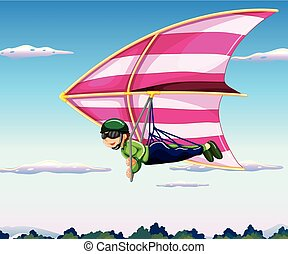 Hang-glider - Hang glider flying in sky