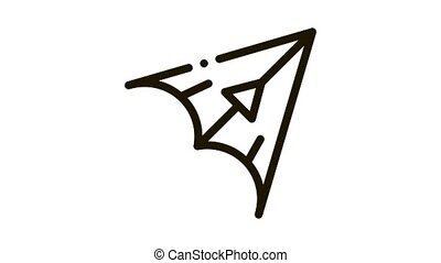 Hang Glider Icon Animation. black Hang Glider animated icon on white background