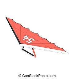 Air tourism extreme isometric composition with isolated image of hang glider vector illustration