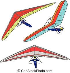 Hang glider on white background