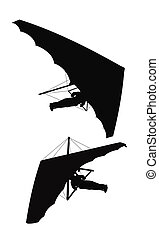 hang glider silhouette - hang glider outlines