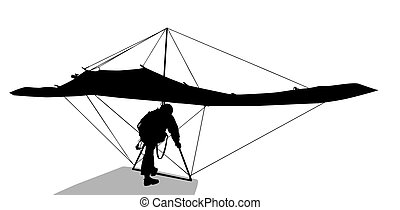 Hang glider - Silhouette of hang glider waiting to take off...