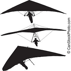 Hang Glider Silhouette on white background