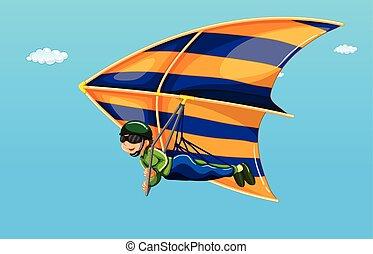 illustration of a man doing hang gliding