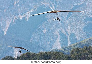 Hang gliding in Julian Alps, Slovenia, Europe