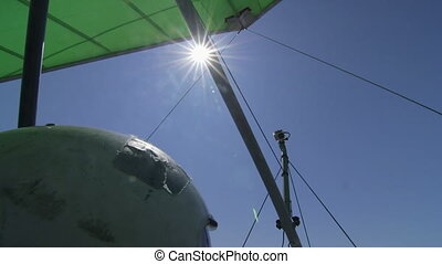 Hang-gliding over sea - Flying over Black sea coast on...