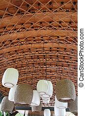 hang lantern on wood ceiling