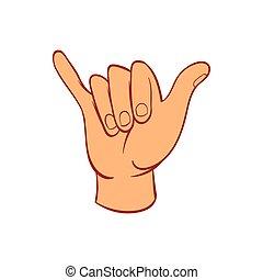 Hang loose hand gesture icon, cartoon style - Hang loose...