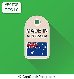Hang tag made in Australia with flag icon. Business concept manufactured in Australia. Vector illustration on green background with long shadow.