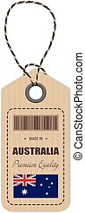 Hang Tag Made In Australia With Flag Icon Isolated On A White Background. Vector Illustration.