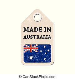 Hang tag made in Australia with flag. Vector illustration