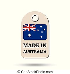Hang tag made in Australia with flag. Vector illustration on white background.
