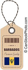 Hang Tag Made In Barbados With Flag Icon Isolated On A White Background. Vector Illustration. Made In Badge. Business Concept. Buy products made in Barbados. Use For Brochures, Printed Materials, Logos, Independence Day