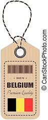 Hang Tag Made In Belgium With Flag Icon Isolated On A White Background. Vector Illustration.