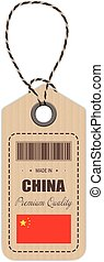 Hang Tag Made In China With Flag Icon Isolated On A White Background. Vector Illustration.