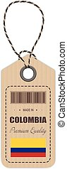 Hang Tag Made In Colombia With Flag Icon Isolated On A White Background. Vector Illustration.