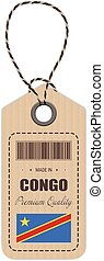 Hang Tag Made In Democratic Republic Of The Congo With Flag Icon Isolated On A White Background. Vector Illustration.