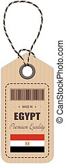 Hang Tag Made In Egypt With Flag Icon Isolated On A White Background. Vector Illustration.