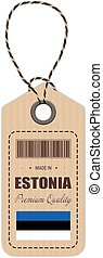 Hang Tag Made In Estonia With Flag Icon Isolated On A White Background. Vector Illustration.