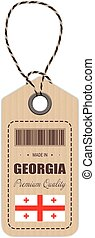 Hang Tag Made In Georgia With Flag Icon Isolated On A White Background. Vector Illustration.