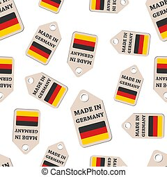 Hang tag made in Germany sticker with flag seamless pattern background. Business flat vector illustration. Made in Germany sign symbol pattern.