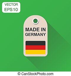 Hang tag made in Germany with flag icon. Business concept manufactured in Germany. Vector illustration on green background with long shadow.