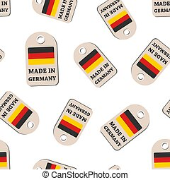 Hang tag made in Germany with flag seamless pattern background. Business flat vector illustration. Manufactured in Germany symbol pattern.